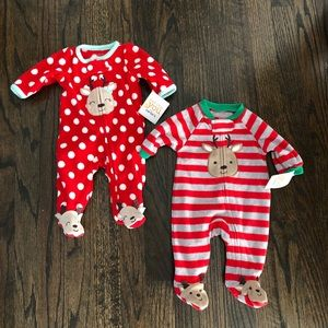 Two New with Tags Newborn Christmas Carter's PJs